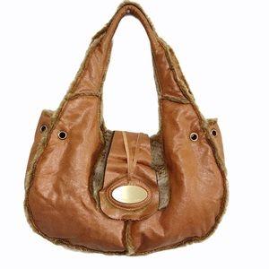 Melie Bianco Fur & Leather Shoulder Bag Purse